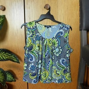 Evan Picone Floral Print Sleeveless Top